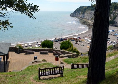Looking down on Beer beach from the cliff side gardens