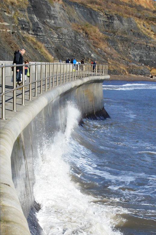 Photo: The sea wall at Lyme
