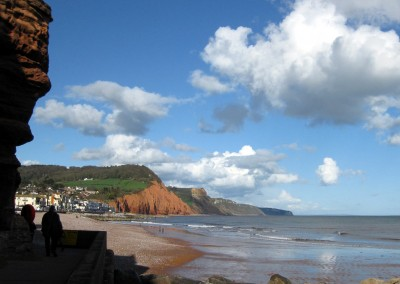 Walking under the cliffs towards Sidmouth main beach