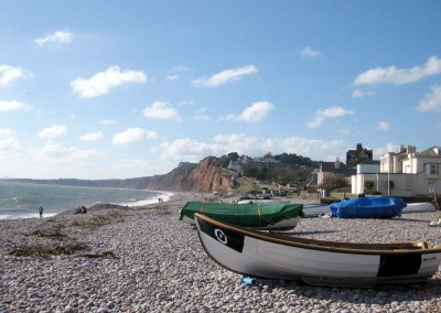 Boats on the beach at Budleigh Salterton
