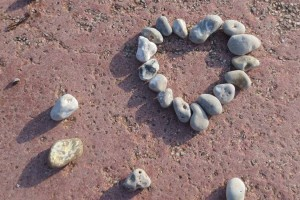 Photo: A pebble valentine heart