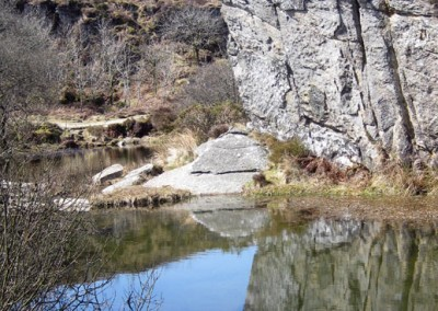 The granite quarry sunk into the moors near Haytor, Dartmoor