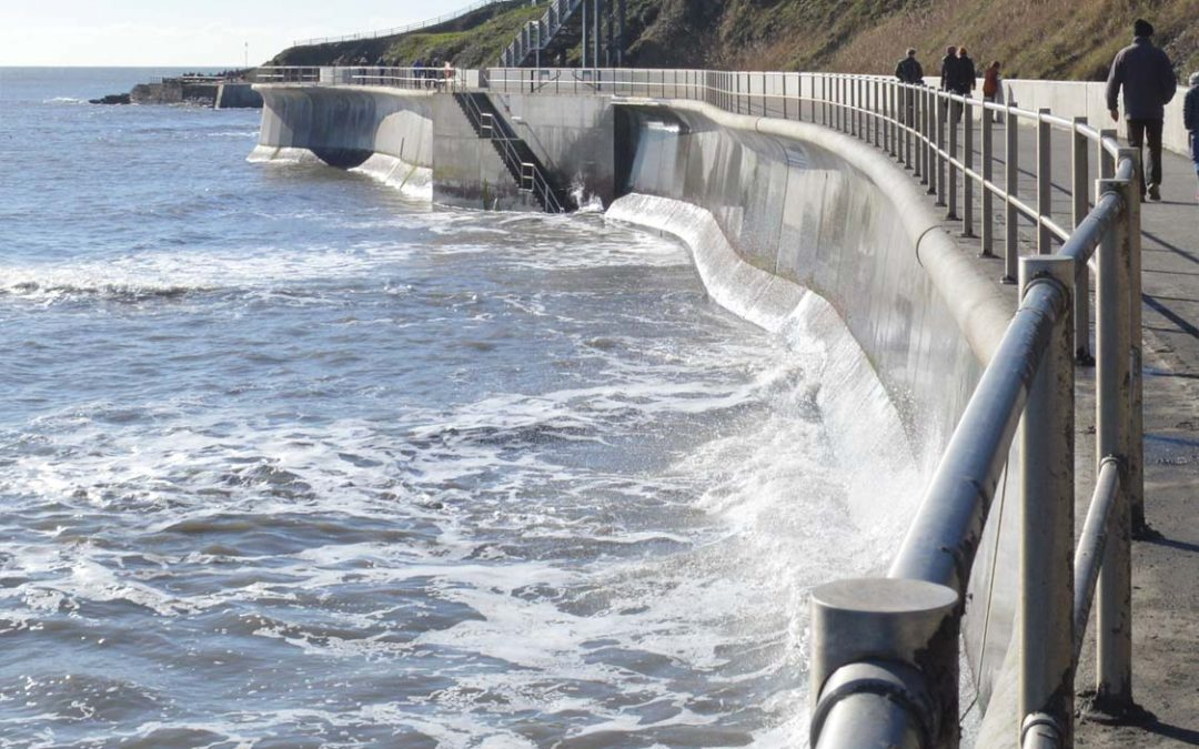 Photo: the sea wall at Lyme Regis