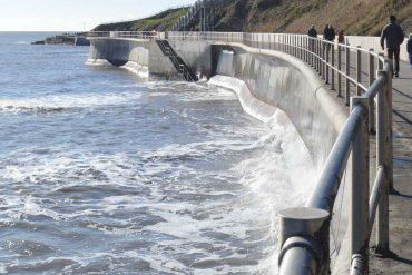 Photo: the sea wall at Lyme Regis