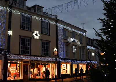 Photo: Christmas lights at Fields, SIdmouth's independent department store