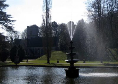 Bicton fountain and the estate chapel