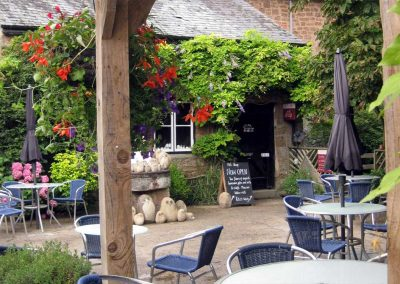 The cafe courtyard at Otterton Mill