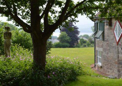 The garden overlooks the Exe estuary